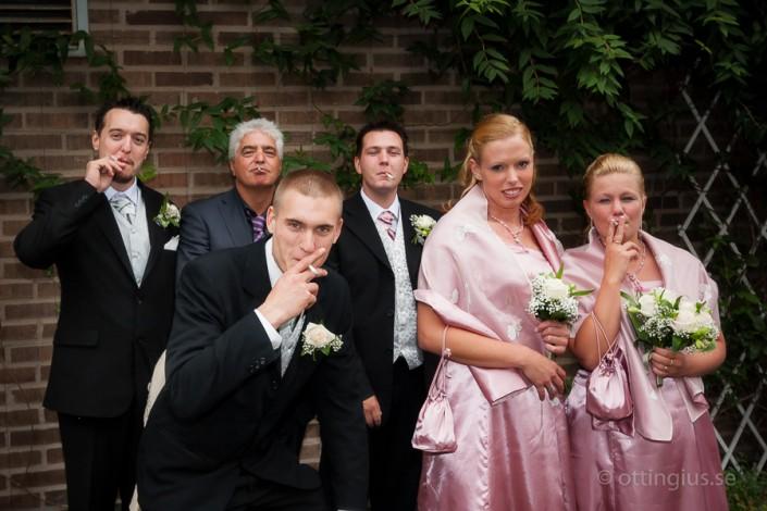 Avbrott i bröllopsschemat pga. en rökpaus