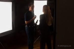 Bakom kameran vid en modellfotografering i Göteborg